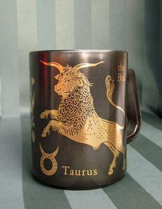 taurus coffee mug - love the crinkly smile on the bull's face!