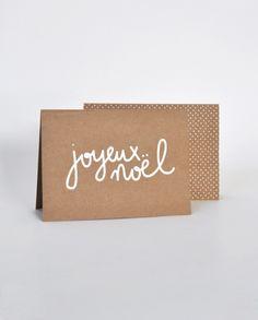 Joyeux noël - Ouistiti Carte en kraft, sérigraphiée à la main en france