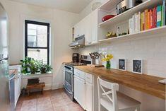 Kitchen Countertop Organization, Wood Kitchen Cabinets, White Cabinets, Small Galley Kitchens, Galley Kitchen Design, Kitchen Small, Kitchen Layout, Kitchen Designs, White Granite Countertops