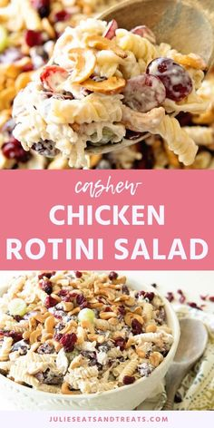 Amazing Cashew Chicken Rotini Salad Is Perfect For Summer Potlucks, Parties And Bbqs This Pasta Salad Recipe Has Cashews, Grapes, Chicken, Pasta And Dried Cranberries With A Ranch Dressing. Chicken Pasta Salad Recipes, Best Pasta Salad, Easy Chicken Recipes, Salmon Recipes, Soup Recipes, Cooking Recipes, Shrimp Recipes, Casserole Recipes, Crockpot Recipes