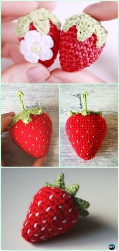 Crochet Amigurumi Strawberry Free Pattern Video- Crochet Amigurumi Fruits Free Patterns