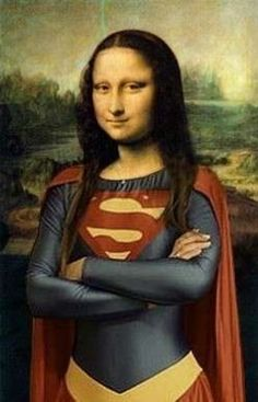 The original piece is Mona lisa by leonardo da vinci, This is a parody of her dressed up as super woman Lisa Gherardini, Bd Pop Art, Tableaux Vivants, Mona Lisa Smile, Mona Lisa Parody, American Gothic, Photocollage, Funny Art, Caricatures