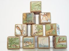 Guess How Much I Love You Blocks / Book Blocks / Natural Wood Toy / Personalize / Baby Shower Gift / Storybook Blocks