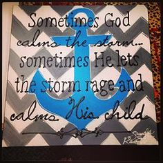 "Chevron Anchor Painting, 20"" x 20"" Canvas"