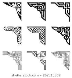 Illustration of set of ornamental corners in celtic style vector art, clipart and stock vectors. Celtic Symbols, Celtic Art, Celtic Dragon, Celtic Knots, Mayan Symbols, Egyptian Symbols, Ancient Symbols, Celtic Patterns, Celtic Designs