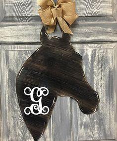 Black Initial Horse Head Door Hanger #zulily #zulilyfinds