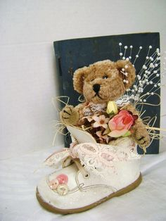 Embellished Baby Shoe Teddy Bear Dusty Rose Nursery by junquegypsy, $19.90