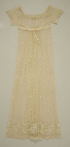 Dress (image 1) | British | 1805-1810 | silk, cotton | Metropolitan Museum of Art | Accession Number: 1987.190.3
