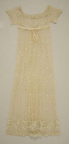 Dress (image 1) | British | 1805-1810 | silk, cotton | Metropolitan Museum of Art | Accession Number: 1987.190.3