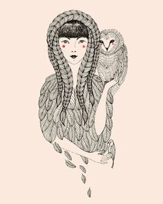 Owl by Ola Liola. Other woman/owl shapeshifters I am reminded of: Athena, Melamori and her avatars in the Max Frei series, Olga in Sergei Lukyanenko's Nightwatch... I feel a fantasy kick coming on.