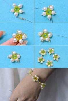 flower beaded bracelet, like it? LC.Pandahall.com will publish the tutorial soon.