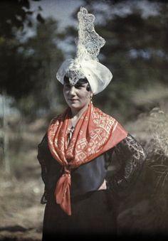 Europe   Portrait of a woman wearing a traditional dress, Les Sables D'Olonne, Vendee, France #lace