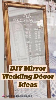 Indoor Wedding Receptions, Diy Wedding Reception, Wedding Mood Board, Diy Wedding Signs, Wedding Ideas, Wedding Rings, Design Museum, Mirror Seating Chart, Seating Charts