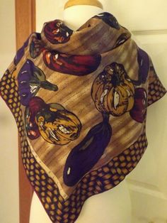 Vintage Perry Ellis Square Harvest Scarf Retro by MainelyScarves