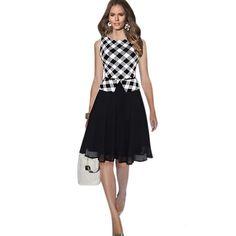 Elegant Women Plaid Striped Chiffon Dress Faux Twinset Slim Waist Dress with Belt Lady Party Midi Dress Vesdios Femininos