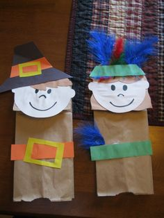 Thanksgiving Pilgrims and Indians Bag Puppet - cute to write a fact on that they learned