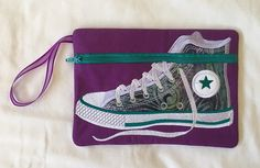 Bold colours. High Top Gym Boot Zipper Pouch Teal Green, Deep Purple, Feather Pattern, Pink Gingham, Cotton Quilting Fabric, Organza Ribbon, Applique Designs, Zipper Pouch, School Bags