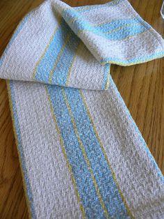 Handwoven Kitchen Dish Towel - Natural Blue Aqua Yellow - Mostly Natural
