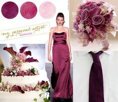 Bordeaux plum pewter sangria boho chic wedding - outdoor garden wedding reception, ceremony.