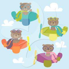 Flying Bears Clip Art