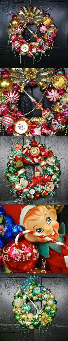 The Christmas at Beekman Place Wreaths from Beekman 1802 made from vintage holiday ornaments