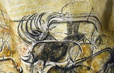"""""""Chauvet Cave in the Ardèche department of southern France contains 65 images of the woolly rhino — accounting for around of all known depictions of this beast in They were created more than years ago. Image by Jean Clottes"""" Chauvet Cave, Lascaux, Tempera, Fresco, Art History Timeline, Paleolithic Art, Art Ancien, Art Premier, Mural Painting"""