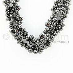 """5.30 to 8.00 mm - 2 Lines - #""""Black Diamond Drop Beads"""" - 14 inches (DiaDrp1022)"""