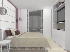 """Suíte com sala de jogos integrada através de um """"armário de correr"""". http://dicasdearquitetura.com.br/suite-com-closet-e-sala-de-jogos/"""