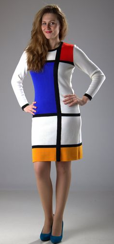White MONDRIAN dress, color block dress, handmade by knitting machine Wool Dress, Knit Dress, White Dresses For Women, Dresses For Work, Mondrian Dress, Piet Mondrian, Theo Van Doesburg, Sixties Fashion, Vintage Style Dresses