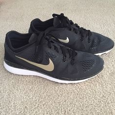 Nike Free TR 5 ID Custom Black and Gold Women's training shoe in size 7.  Retails for $145 from Nike ID. Customized to be black and gold in color. Light weight mesh with rubber sole. Brand new shoes with no box. No trades! Nike Shoes Athletic Shoes