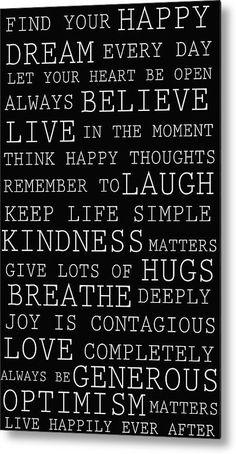 Positive Words Metal Print