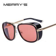b526966855 Merry S Iron Man 3 Matsuda Tony Steampunk Sun Glasses Men Mirrored Designer  Brand Glasses Vintage Mirrored