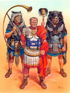 Orden de Batalla. Historia Militar: Las Legiones Romanas. Organización y Rangos. Legatus imperial junto a un Cornicen y un Imaginifer.