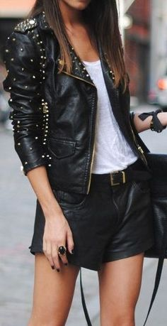 Studded Moto Jacket & Leather Shorts <3 L.O.V.E.