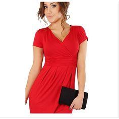 Women Cotton Solid V Neck Short Sleeve Empire Waist Sheath Casual Wrap Dress An | eBay