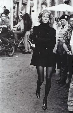 Kate Moss photographed by Peter Lindbergh for Harper's Bazaar, September 1994.