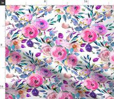 Double Gauze Fabric, Cotton Twill Fabric, Fleece Fabric, Mask Making, Watercolor Flowers, Fabric Flowers, Fabric Patterns, Poplin, Patience