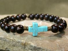 Turquoise Bracelet  Cross Bracelet  Wood Bracelet Mens Bracelet by StoneWearDesigns