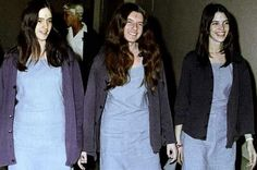 Susan Atkins Patricia Krenwinkel and Leslie Van Houten walk to court to appear for their roles in the 1969 cult killings of seven people (Pic:AP)