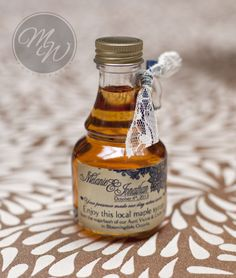 Such a great idea for a party favour at a wedding! Maple syrup for the couples relatives farm