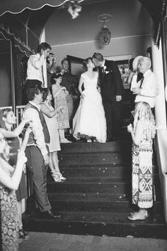 Blush and White Historic Church Wedding | Smithfield, Virginia | Wedding bubbles exit