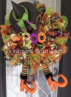 Hey, I found this really awesome Etsy listing at https://www.etsy.com/listing/242781829/wicked-witch-halloween-wreath-halloween