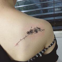 bean flower + lettering  close-up  Tattooist Hongdam   Seoul, Korea