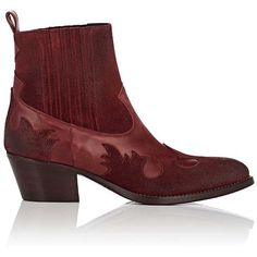 Barneys New York Women's Leather & Suede Western Ankle Boots (8,740 MXN) ❤ liked on Polyvore featuring shoes, boots, ankle booties, ankle boots, red, red suede bootie, red ankle boots, red leather booties, red suede booties and red cowboy boots