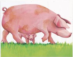 Cute Kids Sticker Animals Baby Pig with Mama Decal Scrapbooking Collectible New #Handmade #Square