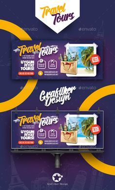 Travel Tour Billboard Templates by grafilker Travel Tour Billboard Templates Fully layeredINDDFully Dpi, CMYKIDML format openIndesign or laterCompletely edit Web Design, Web Banner Design, Page Design, Graphic Design, Travel Ads, Travel Tours, Social Media Banner, Social Media Design, Signage Design