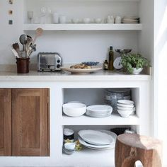 Old wood Shelf Open Shelving is part of Kitchen gallery - Welcome to Office Furniture, in this moment I'm going to teach you about Old wood Shelf Open Shelving Classic Kitchen, Rustic Kitchen, New Kitchen, Kitchen Decor, Neutral Kitchen, Timber Kitchen, Kitchen Pantry, Kitchen Living, Living Room
