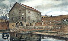 David Armstrong - Wade's Mill - This is one of more than works of art offered by ArtUSA, The World's Source for Collectible Art. Toll-free or David Armstrong, Barns, Arts And Crafts, World, House Styles, Prints, Painting, Free, Painting Art