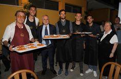 (2L-R)Thomas Strakosha, Claudio Lotito, Marco Parolo, Franjo Prce, Danilo Cataldi and Suor Paola attend attend a Charity Event on September 28, 2016 in Rome, Italy.