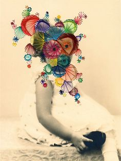 talian artist Maurizio Anzeri's found photographs are reinvented with embroidered threads of colour pulled tight to create new facial contours. New expressions radiate from the eyes of strangers, needlework veils mask what was.